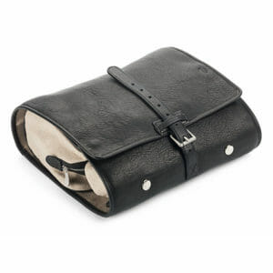 Hanging Leather Wash Bag With Buckle