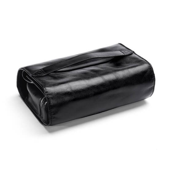 Mens Leather Hanging Wash bag back